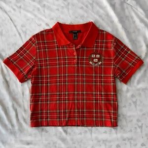 Red Harvard Plaid Crop Top